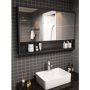 浴室鏡 洗臉鏡柜防水衛生間防霧鏡箱廁所鏡子柜-免運直出zg