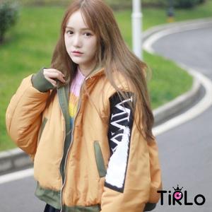鋪棉外套 -Tirlo-雙袖圖案澎澎鋪棉短版外套-兩色