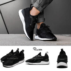 Puma 休閒鞋 Muse Satin EP Wns 黑 白 交叉綁帶 緞面設計 黑白 運動鞋 女鞋【PUMP306】 36553403