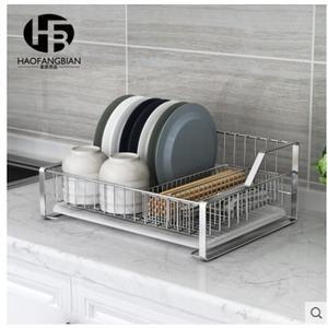 小鄧子304不銹鋼碗架單層瀝水架收納晾放碗盤架子(主圖款-加大號台式碗碟架+筷子架)