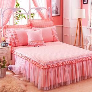 限定款床罩組120x200公分床上用品全棉公主蕾絲床裙加厚舖棉素色棉質床罩保潔墊