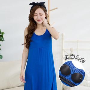 幸福心采Bra 居家睡衣洋裝(藍)