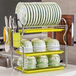 瀝水架三層洗碗架瀝水架廚房置物架碗碟盤子家用餐具碗筷收納用品刀掛架wy