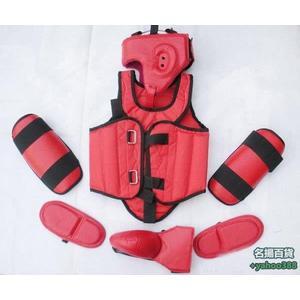 不二516全套散打護具(黑色 紅色) 跆拳道護具 拳擊護具 泰拳護具 運動護具