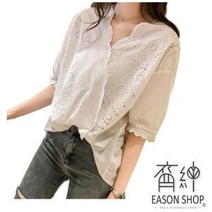 EASON SHOP(GU8999)氣質鉤花鏤空蕾絲拼接前短後長小V領短袖襯衫女上衣服落肩修身顯瘦內搭衫薄款白色