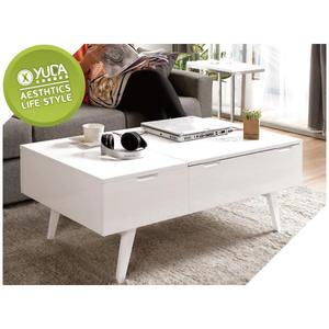 【YUDA】北歐風 現代 雙抽造型 超硬度 純鋼琴烤漆 優麗坦 尼斯 白色 多功能 茶几/大茶几 J9M 757-1