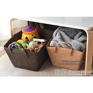 洗衣籃田園藤草編織髒衣籃衣服收納筐洗衣籃大號玩具簍零食雜物籃收納箱  免運