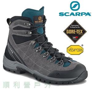 義大利SCARPA R/EVO LUTION GTX 男款 中筒防水健行鞋 60256 鈦灰-湖水藍 防水鞋 登山鞋 OUTDOOR NICE