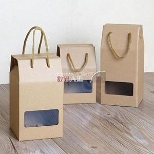 禮盒  牛皮紙盒手提包裝禮盒蜂蜜包裝盒子水果干貨開窗禮品盒可訂制印刷 萌萌小寵
