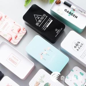 筆袋-韓版彩色收納盒桌面創意單雙層馬口鐵雜物文具整理盒鐵盒子-奇幻樂園