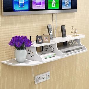 電視機頂盒墻上置物架免打孔壁掛路由器收納盒電線整理線盒隔板架 探索先鋒