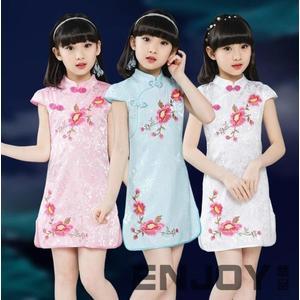2018新款兒童旗袍夏季女童唐裝演出服小孩女孩大童公主裙中國風
