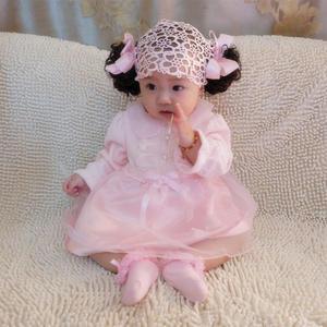 ♥ 俏魔女美人館 ♥ 粉色嬰兒百日、周歲禮服裙秋冬小翻領天鵝絨公主裙連衣裙