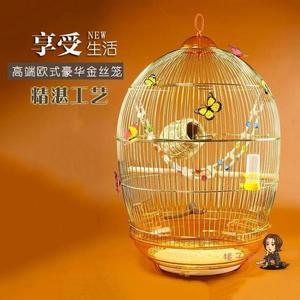 鳥籠 觀賞鸚鵡籠百靈畫眉八哥鷯哥虎皮玄鳳大型號金屬金色復古典鳥籠子T