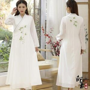漢服古裝實拍復古中國風手繪長袖禪茶服連身裙女民族風長袍 週年慶降價