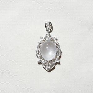 琳岱玉珠寶 水沫子石墜子-教學品  天然水沫石蛋面 +925銀白K鑲嵌水晶鑽墜台 附商品保證書