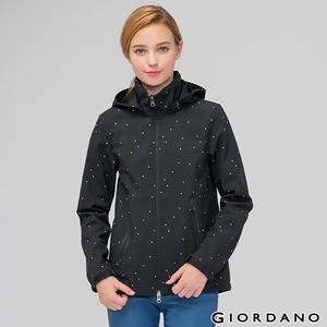 GIORDANO 女裝可拆帽防風保暖外套 -01標誌黑