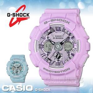 CASIO手錶專賣店 G-SHOCK S series系列 GMA-S120DP-6A 粉嫩雙顯中性錶 粉紫色錶面 防水200米 世界時間