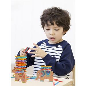 彩色積木平衡木動物疊疊樂兒童益智桌游親子互動玩具   蜜拉貝爾