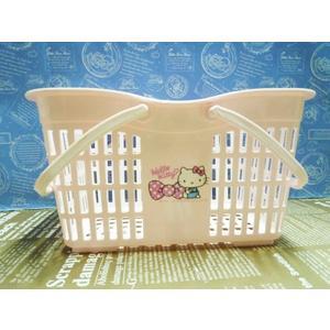 【震撼精品百貨】Hello Kitty 凱蒂貓~塑膠提籃-粉蝶結*52622