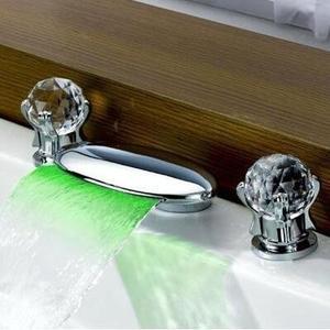 面盆瀑布水龍頭冷熱全銅浴缸面盆水龍頭 雙把三孔臺下盆瀑布龍頭【貝型水晶】