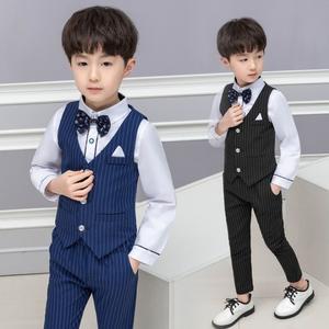 衣童趣♥韓版中大男童西服三件套裝 長袖襯衫 帥氣背心 條紋長褲 正式套裝 表演西裝 大童西裝