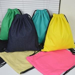 小清新束口袋抽繩後背包 男女素面帆布背包棉麻布袋書包