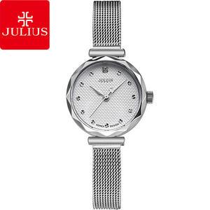 JULIUS 聚利時 浪漫誓言簡約米蘭錶帶腕錶-銀色/23mm 【JA-829A】