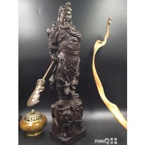 越南沉香木雕關公擺件 武財神佛像 紅木雕刻工藝品關羽鎮宅供奉CY 【PINKQ】
