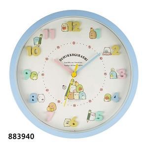 角落玩偶 時鐘 靜音秒針 壁鐘 掛鐘角落生物 SUMIKKOGURASHI立體數字 藍 883940 綠 883957