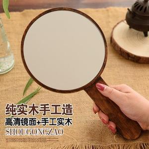 高清手柄化妝鏡實木便攜梳妝鏡手持手拿鏡子美容院復古木質隨身鏡 享購