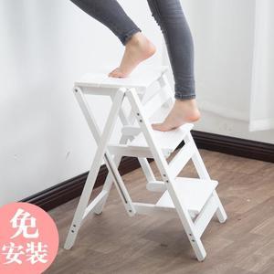 梯子家用摺疊梯凳人字梯實木二三四步梯椅凳花架室內登高爬小梯子  ATF  魔法鞋櫃