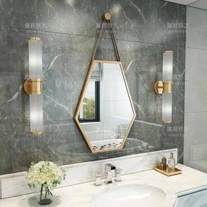 北歐浴室鏡衛生間壁掛 洗手間鏡化妝鏡六邊菱形包邊裝飾掛鏡 九折鉅惠