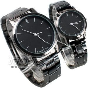 KEVIN 情人對錶 都市情人夢 簡約時刻 時尚腕錶 防水手錶 對錶 黑色 KV2280黑大+KV2280黑小