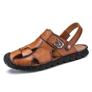 包頭涼鞋 男士沙灘鞋牛皮戶外涼鞋男鞋涉水鞋《印象精品》q393
