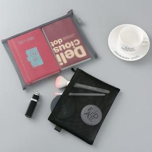 日野透明網紗網格創意考試筆袋男女大容量文具袋文具盒韓國簡約清新透氣絲網文件袋學