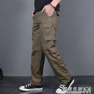 純棉休閒褲男寬鬆直筒多口袋工裝褲男長褲新款戰術褲潮 遇見生活