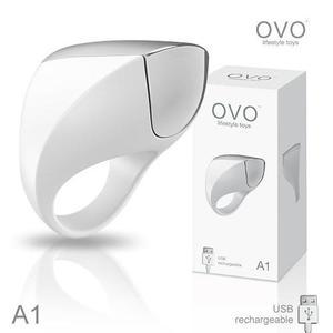 情趣用品-男用震動環 德國OVO A1 時尚男性 矽膠靜音時尚震動環 充電式 白色