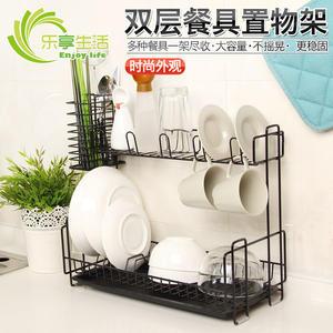 瀝水架納川廚房雙層餐具置物架碗架收納架雙層碗碟瀝水架儲物架wy