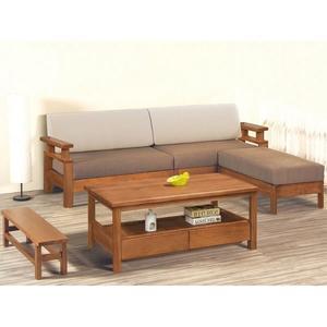 沙發組 FB-134-7 全實木南洋檜木L型板椅組  (含大小茶几) (可拆賣)【大眾家居舘】