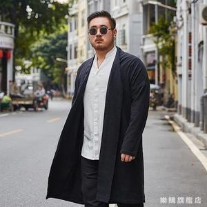 大尺碼男裝中國風長版風衣中式胖子寬鬆棉麻開衫外套加肥加大漢服