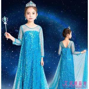 冰雪奇緣公主裙 愛莎連衣裙 女童 艾莎愛沙elsa 禮服 萬圣節 兒童服裝 秋