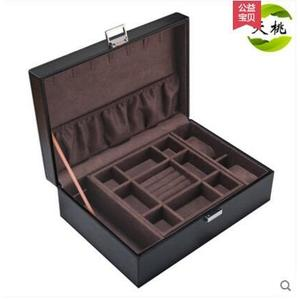 皮革雙層首飾盒皮質手錶珠寶手鐲收納盒-黑色+深棕色內飾