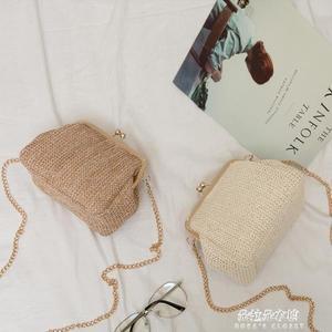 貝殼包新款草編包迷你貝殼斜背包夏天小包包女款簡約單肩包斜背包潮  朵拉朵衣櫥