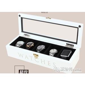 手錶盒 韓米琪木質手錶飾品收納盒手鐲手鐲文玩收藏盒包絨手錶盒LX