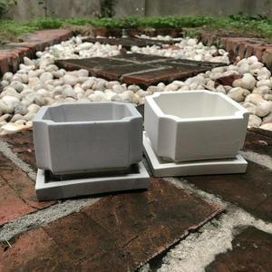 (BEAGLE) 八角型創意水泥花盆+托盤 多肉水泥花器/仙人掌水泥花盆/水泥植栽/水泥盆器:10*10CM