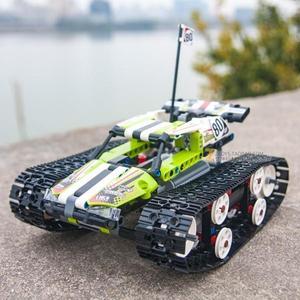 履帶式遙控拼裝積木賽車兼容樂高機械組電動模型玩具 熊熊物語