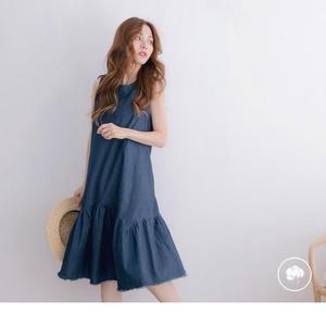 《DA6633》高含棉後綁帶抓皺裙襬拼接背心牛仔洋裝 OrangeBear