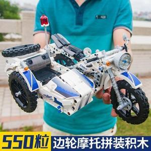科技繫列側邊輪機車拼裝積木兼容樂高三輪警車模型 歐亞時尚