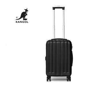 KANGOL- 英國時尚 百搭經典拉鍊可擴充 旅行箱/行李箱-24吋 黑